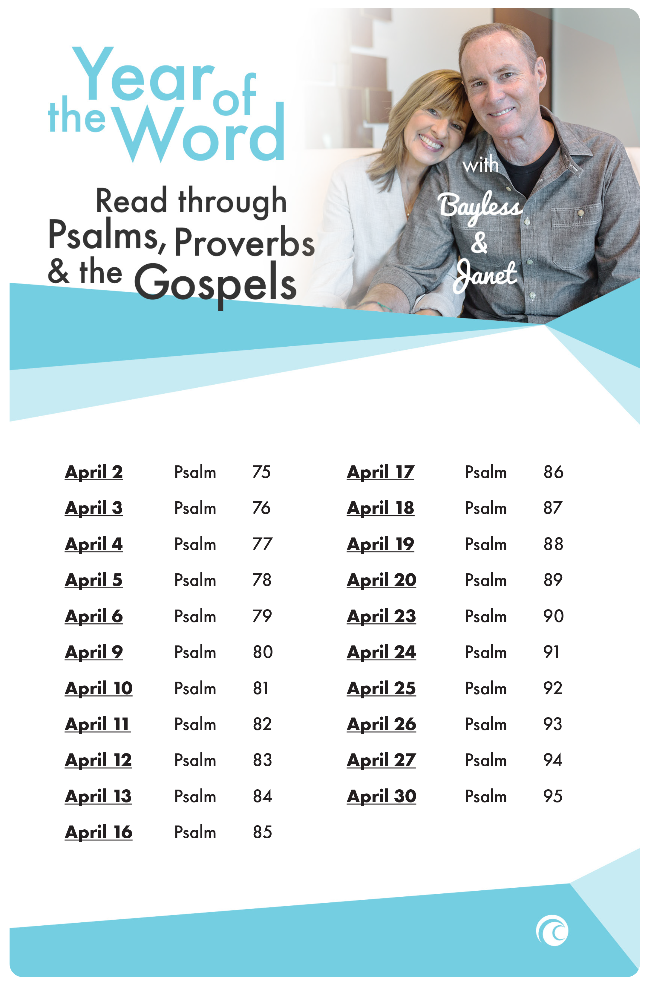 YOTW April psalms provers and the gospels