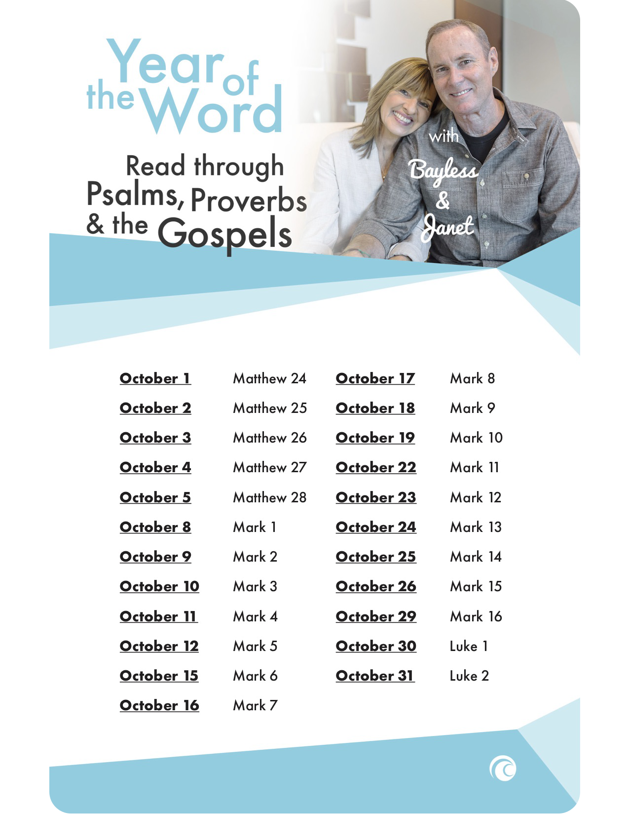YOTW October Psalms, Proverbs, and Gospels